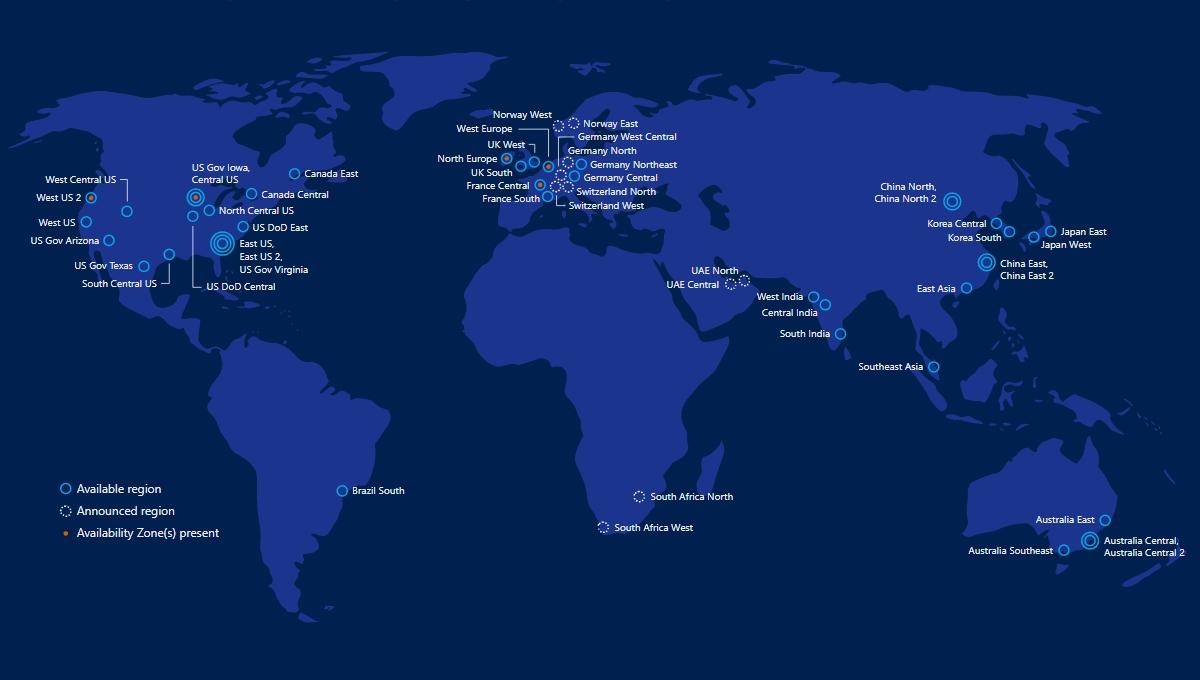 CPDs de Azure Cloud por el mundo